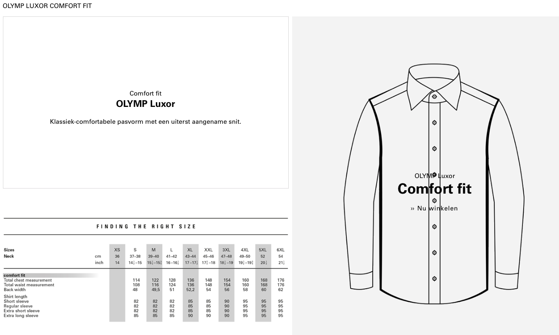 Olymp Comfort fit Maattabel bij Black tie Den Bosch