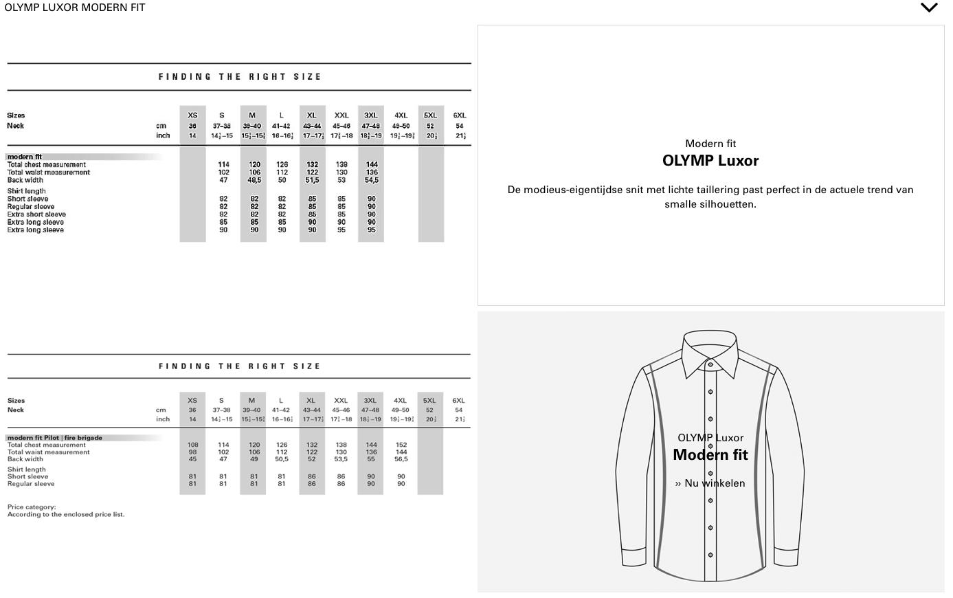 Olymp Modern fit Maattabel bij Black tie Den bosch